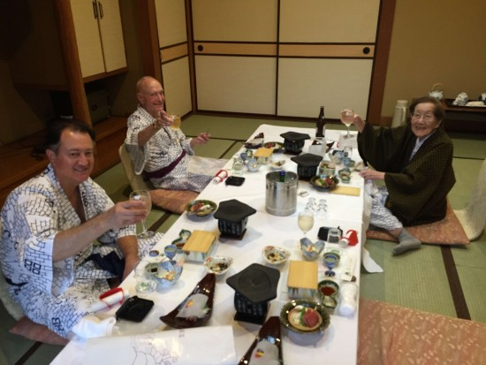 Dinner at Isawa Onsen. From left: George Johnston, Jim Johnston, Toshiko Johnston. (Photo by June Bardwil)