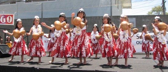 Hula dancers at last year's carnival. (Rafu Shimpo photo)