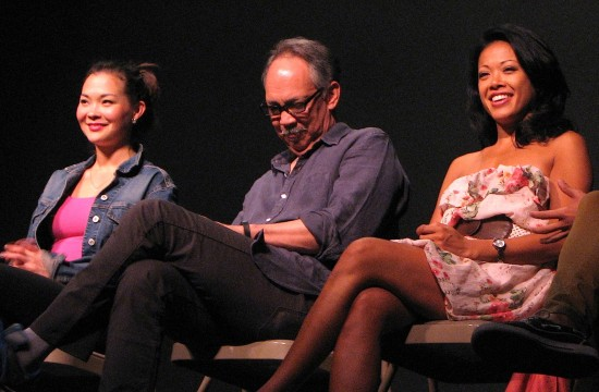 "Lisa Helmi Johanson (Kumiko), Thom Sesma (Chao Khun Atikarn) and J. Elaine Marcos (Nuan) were among the cast and crew members participating in ""Talkback Tuesday"" after the June 9 performance of ""Waterfall"" at the Pasadena Playhouse. (J.K. YAMAMOTO/Rafu Shimpo)"