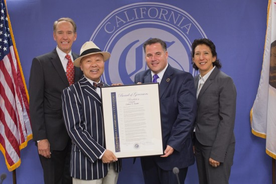 The Board of Governors of the California Community Colleges honored Lance Izumi with a resolution for his 11-year tenure on the board. From left: State Chancellor Brice Harris, Izumi, Board President Geoffrey Baum, and Board Vice President Cecilia Estolano.