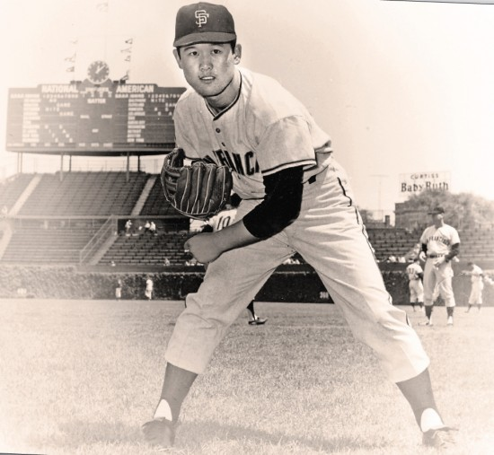 "On ""loan"" from Japan's Nankai Hawks Masanori Murakami enjoyed unexpected success pitching for the San Francisco Giants in 1964 and 1965. A cross-Pacific contract dispute cut short what might well have been a historic Major League career. (Photo courtesy Robert K. Fitts)"