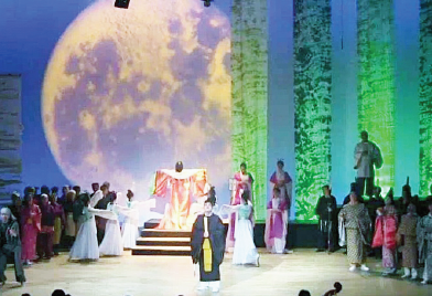 "A scene from the second act of  ""The Departure of Princess Kaguya"" at Tokushima Cultural Center."