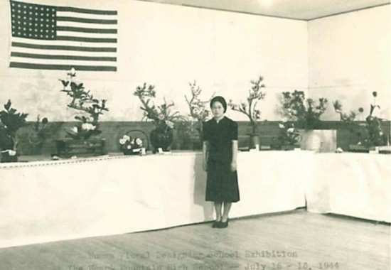Photo of Homma Floral Designing School exhibition at Heart Mountain High School, July 15-16, 1944, from the Allen Henderschot collection.