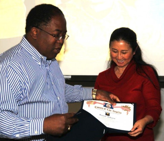 In 2012, Supervisor Mark Ridley-Thomas presented Randi Tahara with an innovation award for organizing the policy issue on rescinding the Board of Supervisors' wartime action supporting the internment of Japanese Americans.