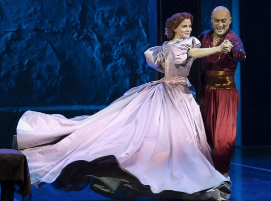 """Kelly O'Hara and Ken Watanabe as Anna and the King of Siam in """"The King and I."""" (Photo by"""