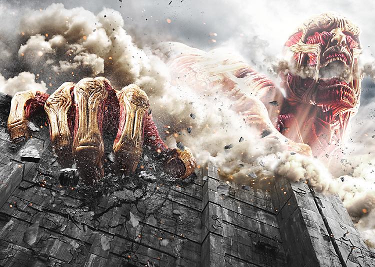 巨人が突如現れ、壁を壊すシーン©FUNimation Entertainment