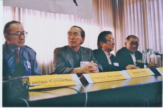 At the NCRR press conference in December 1991. From left: 100th/442nd veterans Clarence Matsumura, George Oiye, Sus Ito, and Rudy Tokiwa.