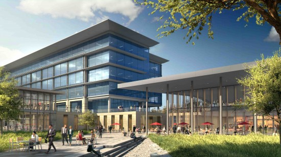 Above and below: Architectural renderings of the proposed Toyota campus in Plano, Texas.