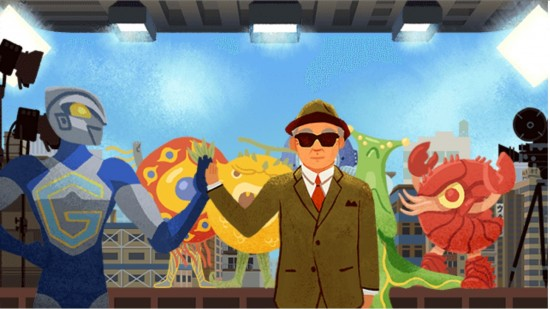 Google cartoon of Eiji Tsuburaya with some of his monsters.