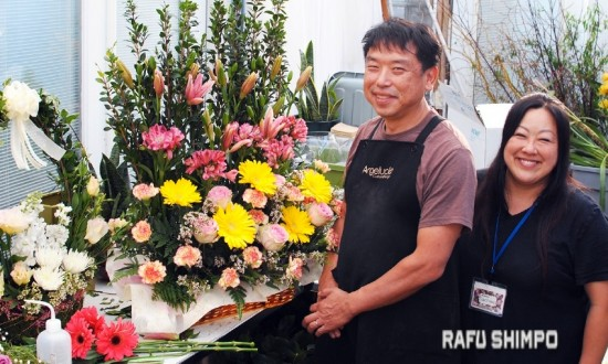 Takeshi and Sachiko Nakamura, owners of Angeluck, a custom-design floral shop in Torrance. (RYOKO NAKAMURA/Rafu Shimpo)