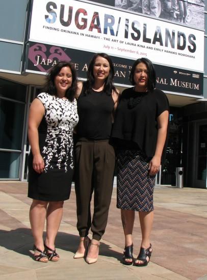 From left: Artist Laura Kina, curator Krystal Hauseur, and artist Emily Hanako Momohara.