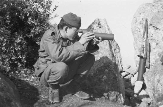 Photograph of T5 (Technician Fifth Grade) George Miyake in the Maritime Alps, Italy, from the Susumu Ito Collection at JANM.