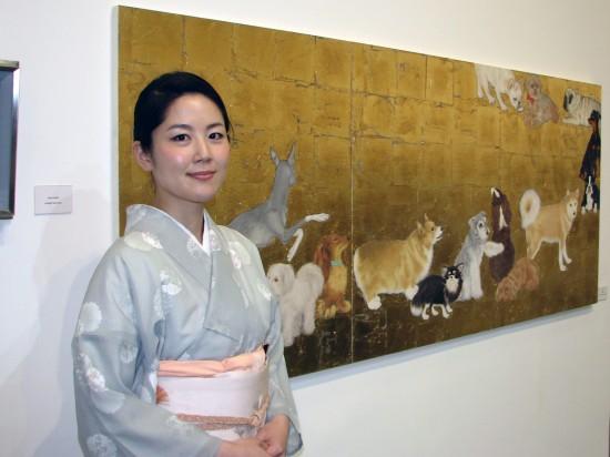"""Last year's Robert Crowder Award winner, Eriko Urano, and her work """"Peregrinations."""" (J.K. YAMAMOTO/Rafu Shimpo)"""