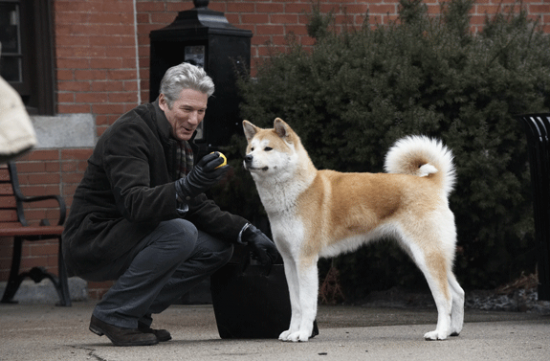 "Richard Gere and friend in a scene from ""Hachi: A Dog's Tale."""