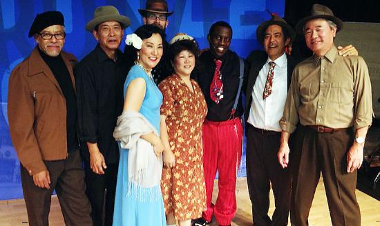 "The cast and musicians of the ""J-Town Jazz Club"" include (from left) Kenny Elliott, Scott Nagatani, Keiko Kawashima, Loryce Hashimoto, Leslie A. Jones, Kurt Kuniyoshi, Darrell Kunitomi and (back row) Gordon Bash."