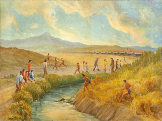 Painting by Estelle Ishigo depicting daily life at the Heart Mountain camp in Wyoming in 1943, from the Allen Eaton collection.