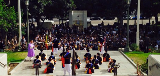 A performance of Korean music and dance during David Ryu's swearing-in ceremony.