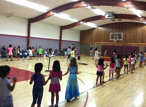 Obon dance practice in the church gym.