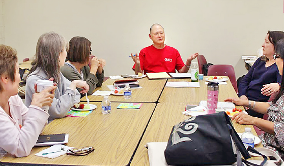 Playwright Tim Toyama (center) encourages Sansei to write stories about their unique experiences and perspectives.