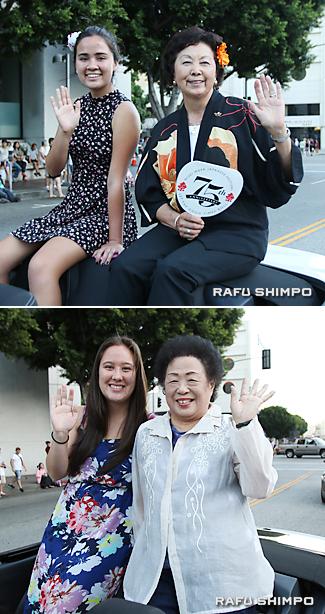 グランドパレードに参加した【写真上】猪瀬加代子さん(右)孫娘クリスティーナさん【同下】松前勝清(右)と孫のクリスティーナさん