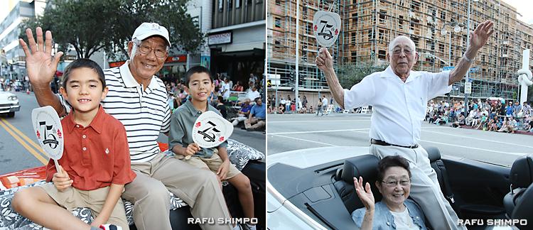 グランドパレードに参加した【写真左】ヤナイさん(中央)は、孫のライアンさん(左)、ギャビンさん(右)【同右】ナガタさん(右上)と妻アルシアさん