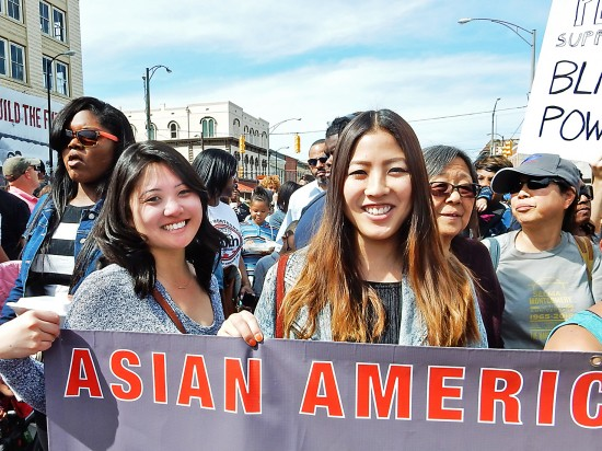 Amy Watanabe, 26, and Sachi Murase, 24, marched in the Asian Americans Marching for Equality and Justice contingent. (Photo by Mike Murase)