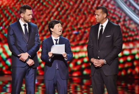 "Ken Jeong (pictured with Joel McHale and Alex Rodriguez) realizes he's been had on ""The ESPYs."""
