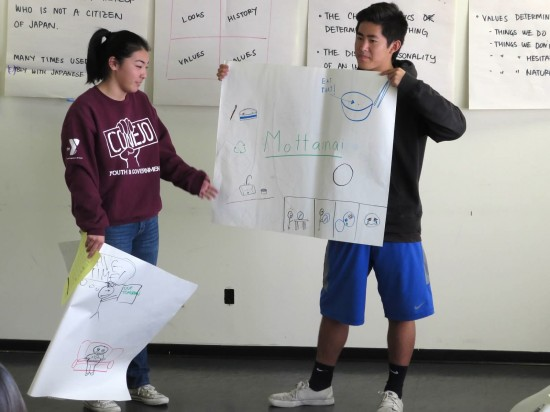 Kelsie Nakasone and Tyler Sugimoto make a presentation at the cultural values session.