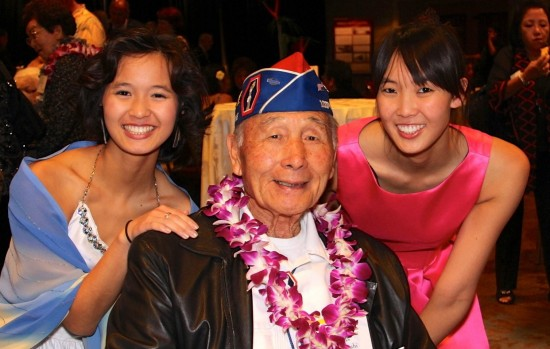 Kelsey Nakaji Kwong (left), Mas Takahashi (center), and Jillian Nakaji Kwong (right) at the 2013 Go For Broke National Education Center Evening of Aloha Gala Dinner.