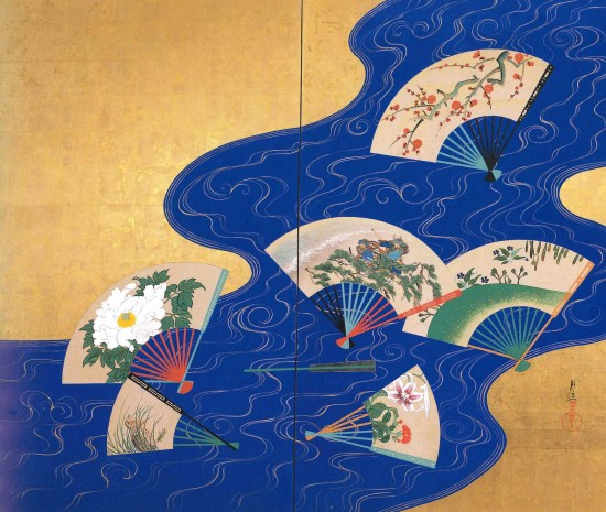 """Senmen-nagashi Zu Byobu"" (Fans Floating on River) by Suzuki Shuitsu."