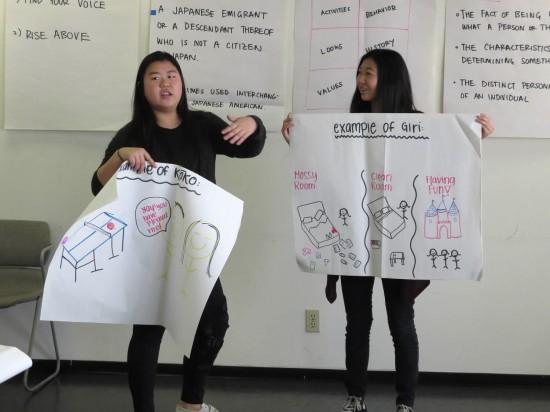 Taryn Manaka and Kaitlyn Chu make a presentation at the cultural values session.