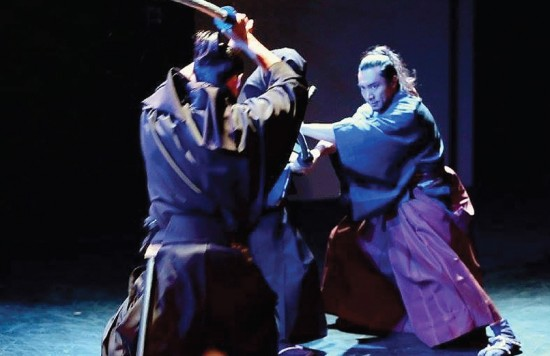 """In scenes from """"Burai: Standing All Alone,"""" a amurai portrayed by Masa Kanome fends off attackers (above) and a geisha performs (below)."""