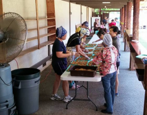 Volunteers preparing for this year's Japanese Summer Festival.