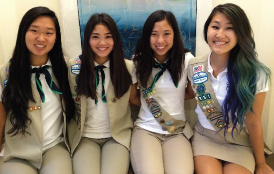 OCBC Girl Scout Troop 881 Gold Award recipients (from left) Ashley Masuda, Samantha Hirata, Jillian Kido, Traci Ishii.