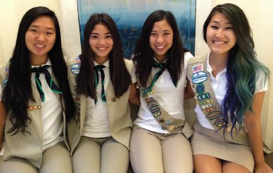 OCBC Girl Scout Troop 881 Gold Award recipients (from left) Ashley Masuda, Samantha Hirata, Jillian Kido, Traci Ishii.