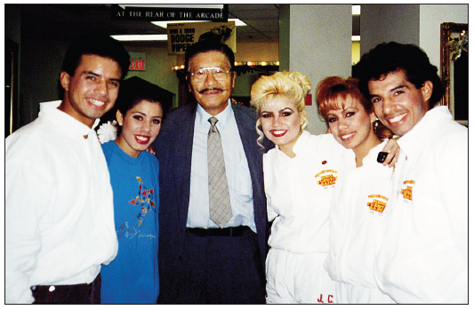George Yoshinaga often wrote about his adventures in Las Vegas. In this photo, he pals around with The Flying Caballeros, a trapeze act performing at Circus Circus. The group later traveled with Yoshinaga to perform in Japan.