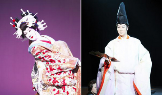Makoto Matsui as an oiran (courtesan) of the Edo period and as Prince Genji of the Heian period.