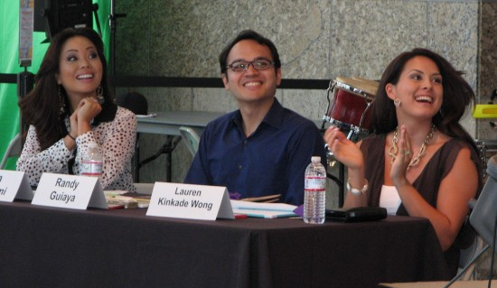 Gina Hiraizumi, Randy Guiaya and Lauren Kinkade Wong served as judges at last year's karaoke contest.