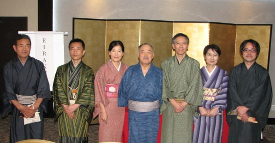 From left: Edamame, Kappa, Kosei, Tanekichi, Eiraku, Shichimi and Yuntaku. They all use the same teigo or family name, Kanariya. (Photos by J.K. YAMAMOTO/Rafu Shimpo)