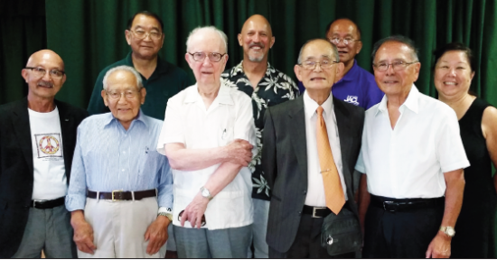 Participants in the Hiroshima/Nagasaki presentation on Aug. 2 at the San Fernando Valley JACC (from left) Richard Fukuhara, Wataru Namba, Paul Jonokuchi (community center president), John Cobb, Robert Horsting, Dickson Yagi, Harold Kameya, Phil Shigekuni, and Nancy Takayam. <issing is panelist Kikuko Otake.