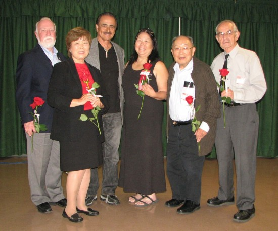 Members of the Tuna Canyon Detention Station Board of Directors and special guest during a celebration of the second anniversary of Tuna Canyon's designation as a historic cultural monument at the SFVJACC in May. From left: Mark Stirdivant, Nancy Kyoko Oda (president), former Los Angeles City Councilmember Richard Alarcon, who nominated the site; Nancy Takayama (treasurer), Dr. Kanji Sahara (first vice president) and Dr. W. Lloyd Hitt (chairman). (Photo by J.K. YAMAMOTO/Rafu Shimpo)
