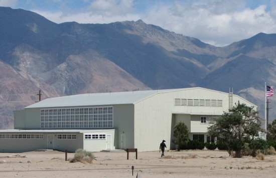 The Visitor Center at Manzanar National Historic Site is the former camp auditorium. (J.K. YAMAMOTO/Rafu Shimpo)