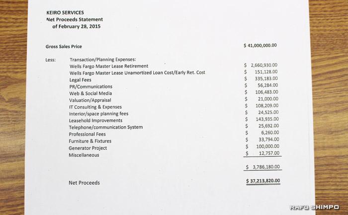 敬老4施設の売買に関し、売却額が示された資料の一部