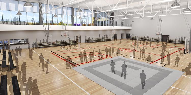 スポーツに加えてアクティビティ施設としても機能する武道館LAの1階内部