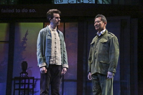 "Jeff Locker as British expat Peter Timms and Ben Wang as Minister of Culture Cai Guoliang in East West Players' production of David Henry Hwang's ""Chinglish."" (Photo by Michael Lamont)"