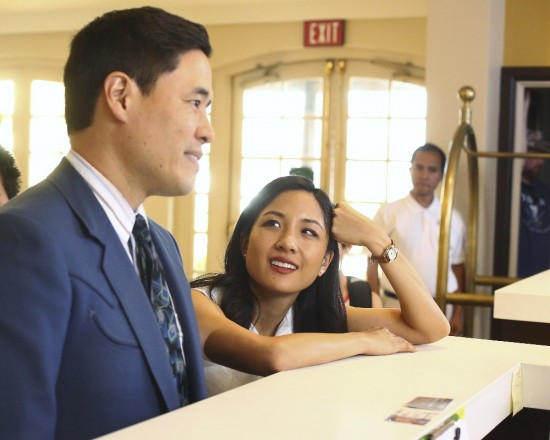 "A scene from the second season premiere of ""Fresh Off the Boat"" starring Randall Park and Constance Wu."