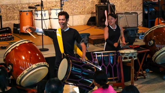 TAIKOPROJECT performs at JANM's Natsumatsuri last month. (Photo by Steve Fujimoto)