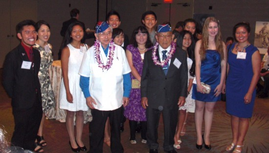 Essay/video contest winners with veterans Yoshio Nakamura and Toke Yoshihashi at Evening of Aloha on Sept. 19 at the Bonaventure Hotel.
