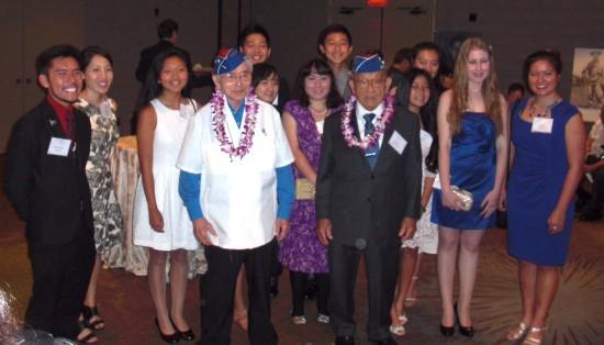Essay/video contest winners with veterans Yoshio Nakamura and Toke Yoshihashi at Evening of Aloha on Sept. 19 at the Bonaventure Hotel.