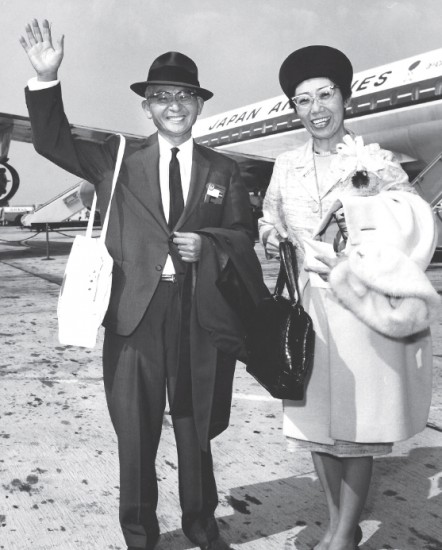 Fred Wada, above with wife Masako, traveled to several Latin American nations to visit local transplanted Japanese communities and gain support for bringing the 1964 Summer Olympic Games to Tokyo.